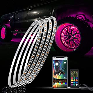 omotor 4PCs 15.5inch RGB LED Wheel Ring Light Kit Can be Controlled by Remote and app Simultaneously w/Turn Signal,Braking...