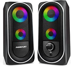 Computer Speakers, 2.0 Stereo Volume Control with RGB Light USB Powered Gaming Speakers for...