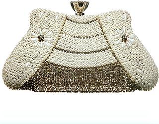 Khadim's White Textile Embellished Lifestyle Clutch Bag for Women