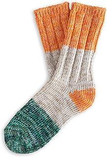 THUNDERS LOVE,   Calcetines Unisex   Talla 36-39   Modelo Helen   Naranja, Blanco y Verde   Calcetines de Algodón   Calcetines Ecológicos   Algodón Reciclado 90%   Tejido Canalé Suave y Acolchado