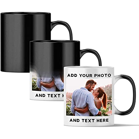 Amazon Com Magic Custom Photo Color Changing Coffee Mug Cup Personalized Diy Print Ceramic Hot Heat Sensitive Cup Add Your Photo Text Kitchen Dining