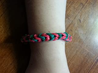 Rainbow Loom Bracelet Triple Fishtail Style - Green and Red (Christmas Colors)