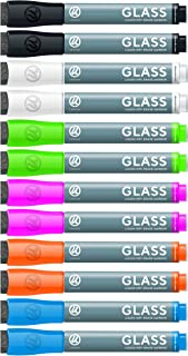 U Brands Liquid Glass Board Dry Erase Markers with Erasers, Low Odor, Bullet Tip, Assorted Colors, 12-Count - 2913U00-12