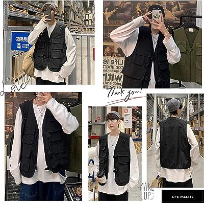 ライフパレット オーバーサイズ フィッシングベスト ベスト メンズ 韓国 おしゃれ ブラック 黒
