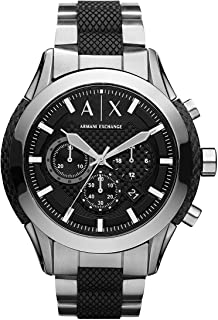 Armani Exchange Men's Black Silicone and Stainless Steel Watch AX1214