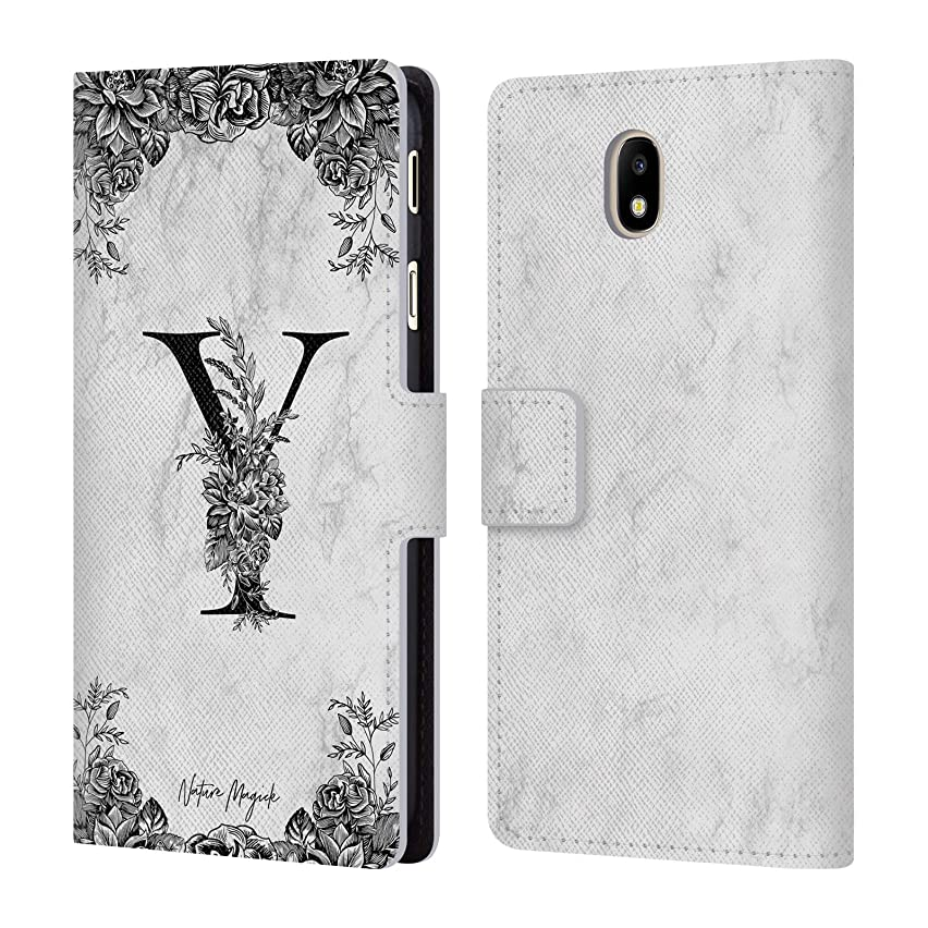 Official Nature Magick Letter Y B&W Marble Monogram 2 Leather Book Wallet Case Cover for Samsung Galaxy J7 2017 / Pro
