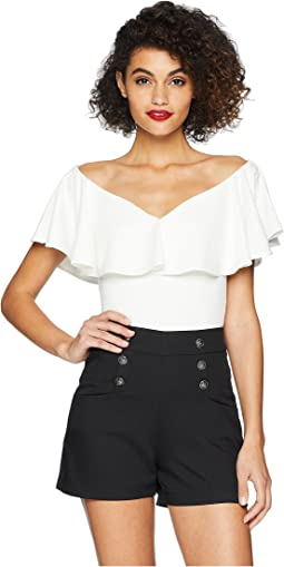 3887a068f9ca7 56. Unique Vintage. Off Shoulder Ruffle Frenchie Knit Top