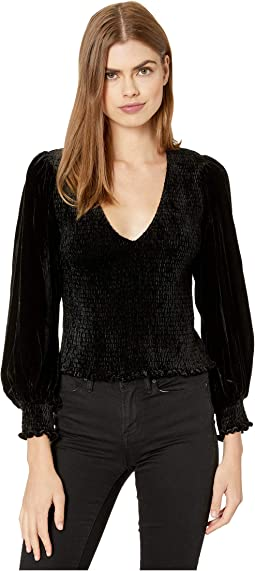 Cropped, Velvet Smocked Top with Balloon Sleeves and Elastic Cuffs