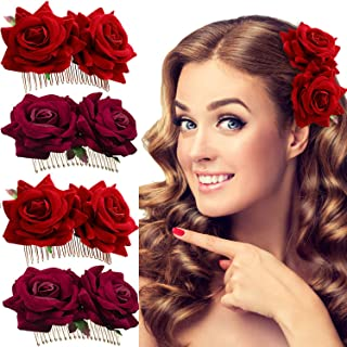 Trounistro 4 Pieces Rose Flower Hair Clip Rose Hair Clip Flower Hairpin Rose Hair comb Bridal Hair Clips Flamenco Dancer Hair Combs Hair Accessory