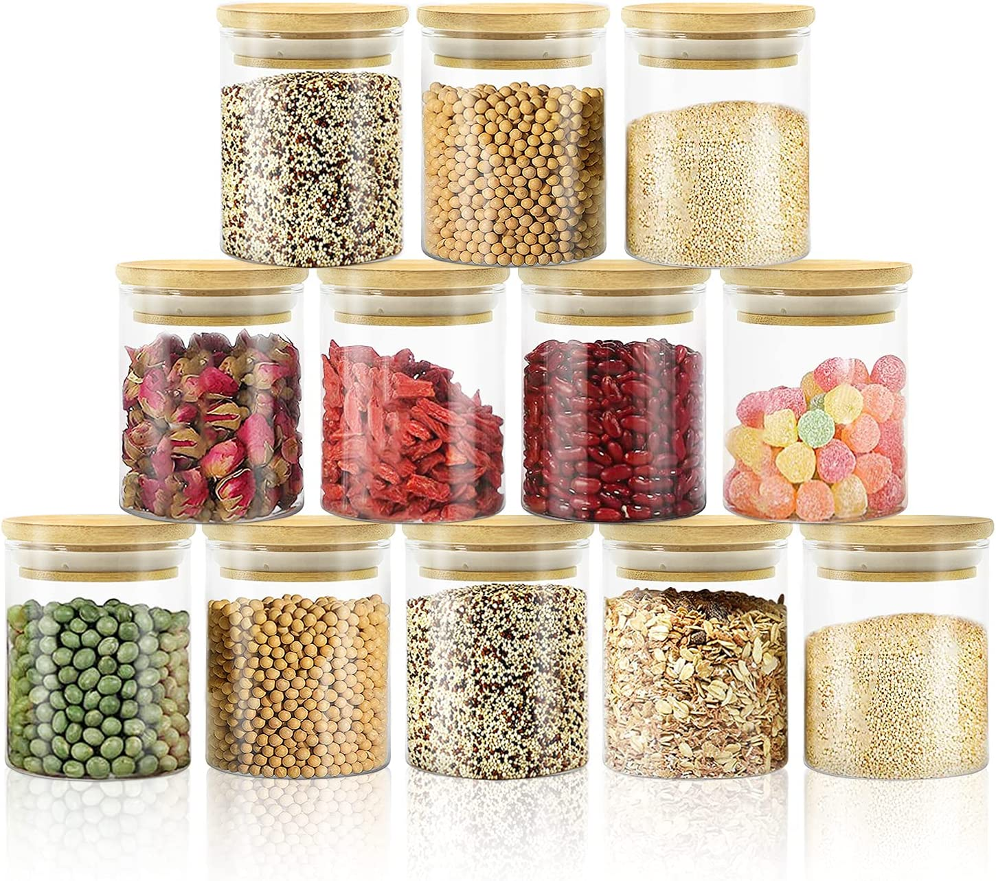 Glass Jars with Bamboo Lids High material Sales 12 of Set Small Pack Spice 6oz