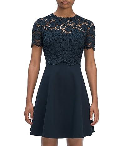 Kate Spade New York Rose Lace Bodice Ponte Dress (Black) Women