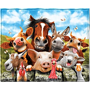 Mugod Cartoon Animals Throw Blanket Cute Farm Animals Pig Cow Horse Sheep Goat Hen Rooster and Barn Decorative Soft Warm Cozy Flannel Plush Throws Blankets for Baby Toddler Dog Cat 30 X 40 Inch