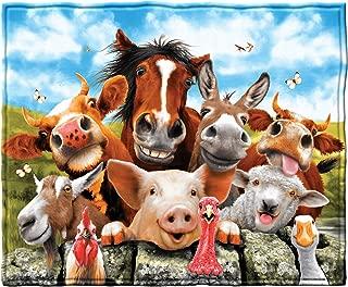 Dawhud Direct Farm Animals Selfie Fleece Throw Blanket