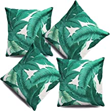 Hofdeco Tropical Pillow Cover ONLY, Green Banana Palm Leaf, 18x18, Set of 4