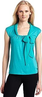 AK Anne Klein Women's Sleeveless Tie Neck Pullover