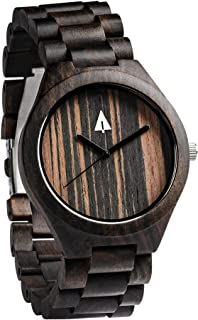 Men's Black Ebony Wooden Watch with All Wood Strap Quartz Analog with.