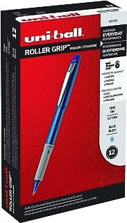 uni-ball Roller Grip Pens, Fine Point (0.7mm), Blue, 12 Count