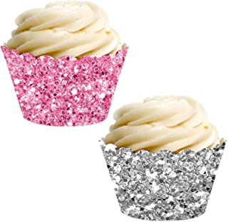 Andaz Press Party Cupcake Wrapper Decorations, Pink and Silver Glitter Paper, 24-Pack, Theme Colored Bulk Cake Supplies, Elephant Girl Baby Shower 1st Birthday, Not Real Glitter