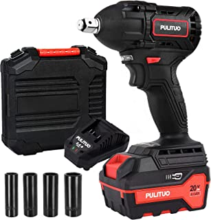 20V Cordless Impact Wrench, PULITUO Brushless Wrench with 1/2 Inch Square Driver, 4.0Ah Li-Ion Battery and Charger, Max 30...