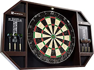 Barrington MD Sports Bristle Dartboard Cabinet Set with LED Light and 6 Steel Tip Darts, Self-Healing Sisal Board