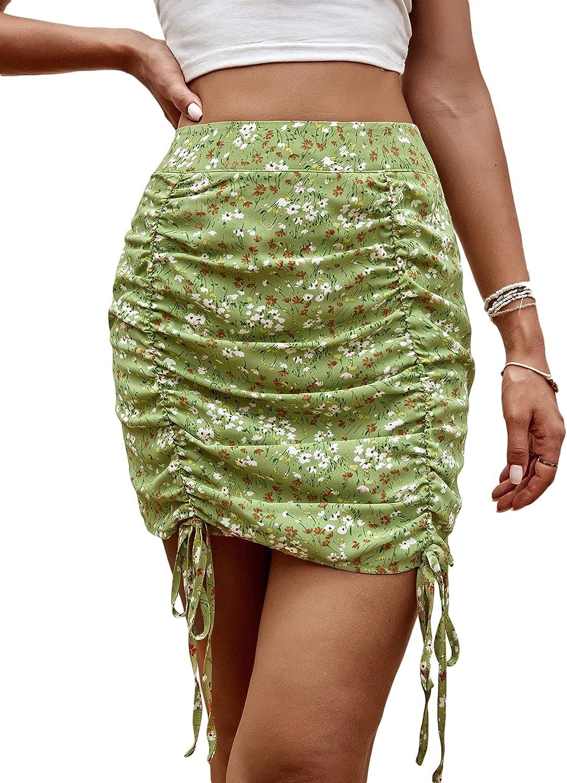 Milumia Women's Boho Floral Print Drawstring Ruched Chiffon Bodycon Mini Skirt