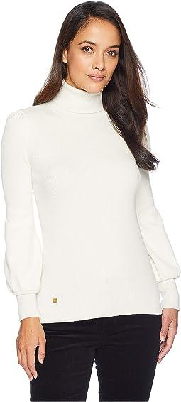 Petite Ribbed Puff-Sleeve Sweater