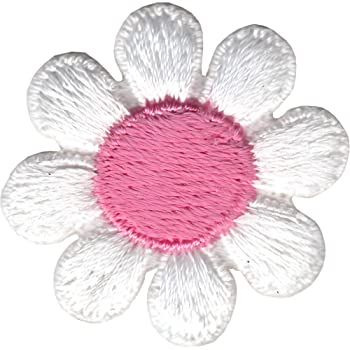 Daisy Flower - White with Pink Center - Embroidered Iron on Patch