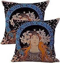WholesaleSarong Set of 2 Alphonse Mucha Sarah Bernhardt Cushion Cover Cotton Throw Pillow Covers