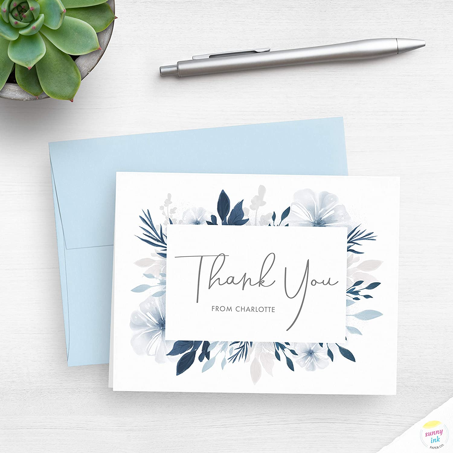 1 year warranty Custom Thank You Free Shipping New Notes - Personali Floral Cards Blue