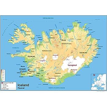 Physische Karte Von Island Laminiertes Papier Ga A0 Size 84 1 X