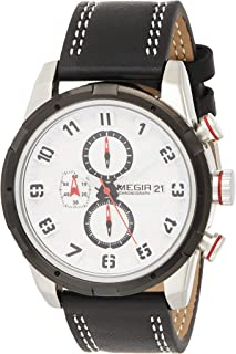 Megir Mens Quartz Watch, Chronograph Display and Leather Strap - 2082G