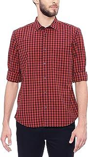 BASICS Slim Fit Sage Red Checks Shirt