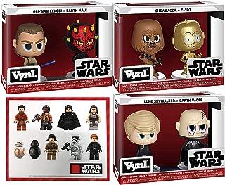 Collection SW Box 6 Figures Star Wars Chewbacca Wookie + C-3PO Droid Vynl Bundled with Galactic Characters Luke Skywalker / Darth Vader / Maul / OBI Wan / Vinyl Items + Jedi Bonus Stickers