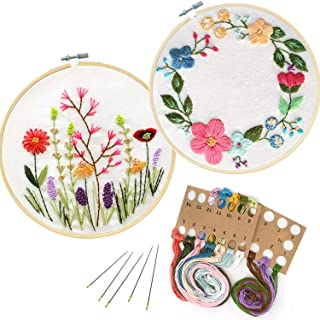 Unime Full Range of Embroidery Starter Kit with Partten, Cross Stitch Kit Including Embroidery Cloth with Color Pattern, Bamboo Embroidery Hoop, Color Threads, and Tools Kit(Fragrant&Floralhoop)