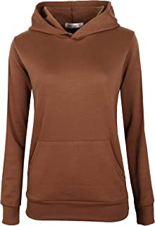 MAJECLO Women's Slim Fitted Soft Lightweight Pullover Long Sleeve Hoodie with Kangaroo Pocket