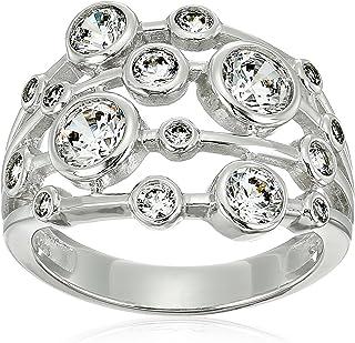 Platinum-Plated Sterling Silver Swarovski Zirconia Round Multi-Stone Ring