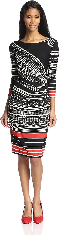 Gabby Skye Women's Printed Dress with Ruching on Side