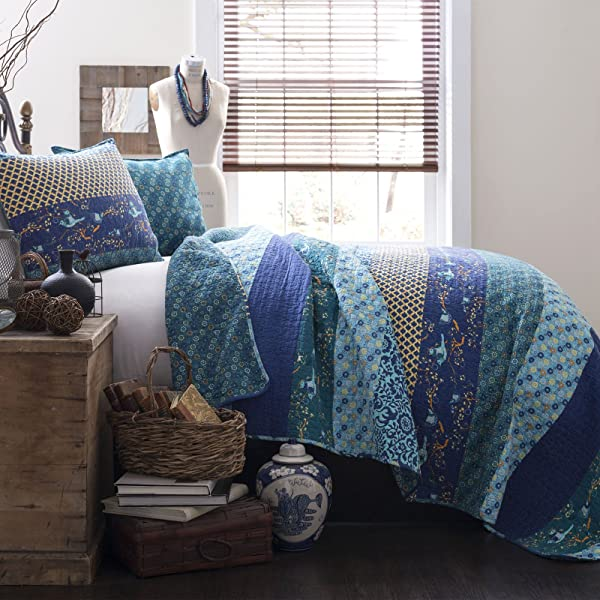 Lush Decor Royal Empire Quilt Striped Pattern Reversible 3 Piece Bedding Set King Peacock