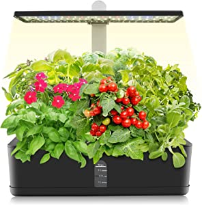 9 Pods Hydroponics Growing System, Indoor Garden with LED Grow Light, Automatic Timer Watering, Indoor Hydroponic Garden Kit for Home Bedroom Kitchen Office, Height Adjustable (Black)