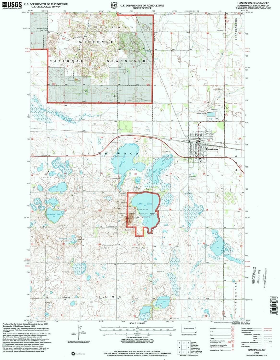 Hankinson ND topo map, 1 24000 Scale, 7.5 X 7.5 Minute, Historical, 1998, Updated 2000, 26.8 x 21.6 in
