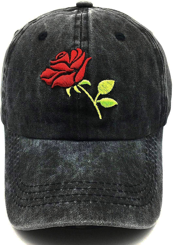 Waldeal Women's Embroideried Floral Rose Baseball Caps Summer Adjustable Denim Dad Hat Black