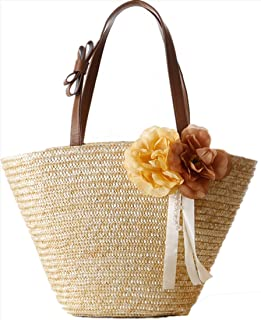 Fashion Flower Beach Bag Women Knitted Handmade Totes Bag