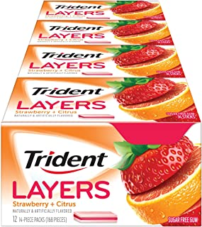Trident Layers Strawberry + Citrus Sugar Free Gum - 12 Packs (168 Pieces Total)