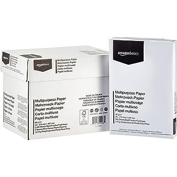 AmazonBasics Carta da stampa multiuso A4 80gsm, 5x500 fogli, bianco