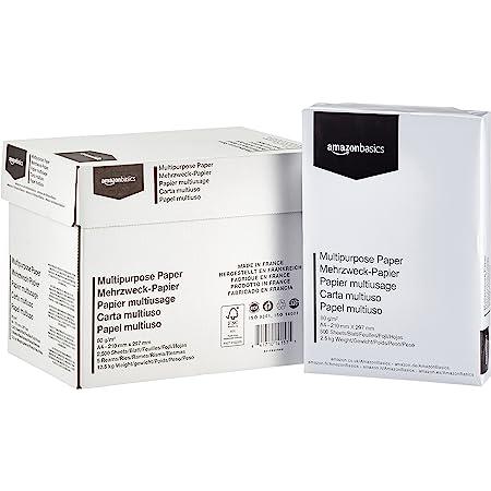 Amazon Basics Carta da stampa multiuso A4 80gsm, 5x500 fogli, bianco