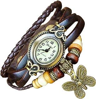 安くて良いBoolavard®TMBUTTERFLYクォーツファッションウィーブラップアラウンドレザーブレスレットレディース腕時計買う