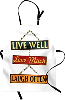 Ambesonne Live Laugh Love Apron, Live Well Love Much Laugh Often Words Rusty Signs Tied with Chains Print, Unisex Kitchen Bib Apron with Adjustable Neck for Cooking Baking Gardening, Multicolor
