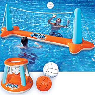 Inflatable Pool Float Set Volleyball Net & Basketball Hoops; Balls Included for Kids and Adults Swimming Game Toy, Floatin...