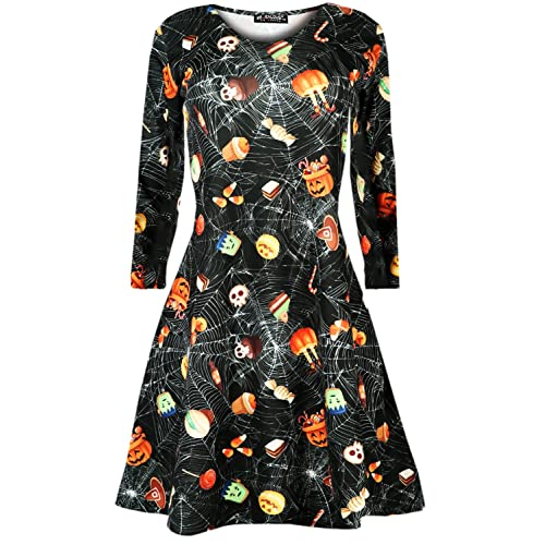 07e8fe548d8d Oops Outlet Womens Ladies Web Skull Skeleton Hand Halloween Fancy Costume  Party Swing Dress