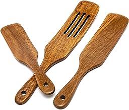 مجموعة أدوات المطبخ الخشبية من خشب السنط مكون من 3 قطع، مجموعة سنترال وود أكاسيا أواني المطبخ الخشبية ملاعق خشبية للطهي أو...